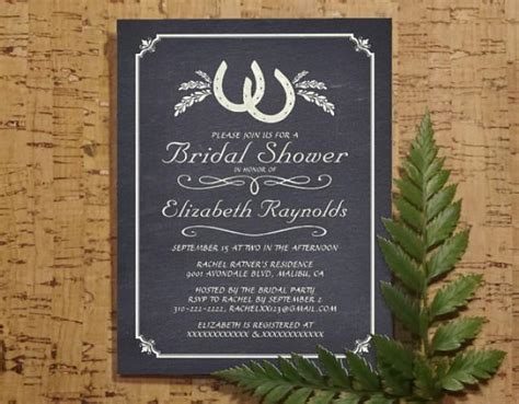country horseshoe bridal invitations bridal shower