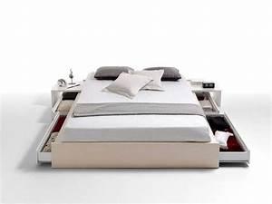 Lit 160 Tiroir : lit 2 personnes 160 cm et ses 4 grands tiroirs de rangement kiev coloris blanc vente de lit ~ Teatrodelosmanantiales.com Idées de Décoration