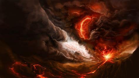 Volcanoes Lava Smoke Artwork Lightning 3840x2160 Wallpaper