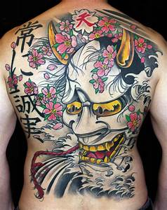 Hannya Mask With Snake Tattoo On Back