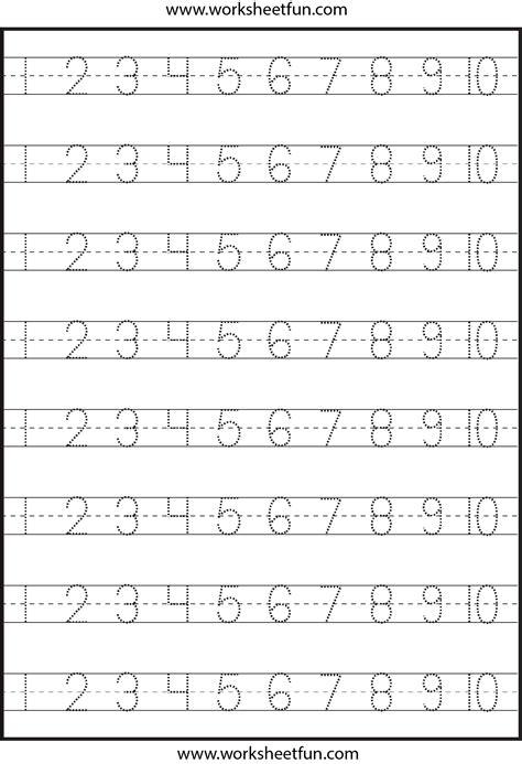 number tracing   worksheet  printable