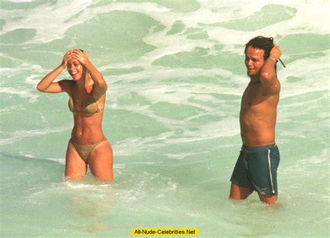 Tina Barrett sexy ini bikini on the beach in Barbados