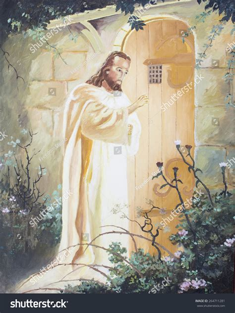 jesus knocking at the door painting jesus knocking on door original stock illustration