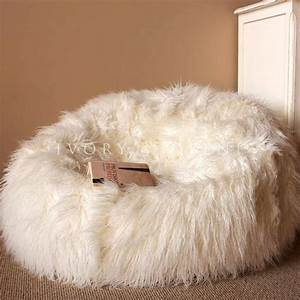 large cream shaggy fur bean bag cover cloud chair beanbag With big soft bean bag