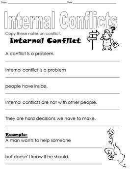 3 page differentiated internal conflict worksheet middle