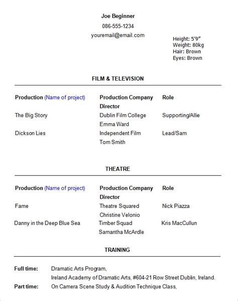 Acting Resume Exle by Acting Resume Templates Free Formats Excel Word