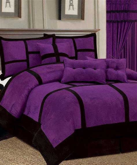 14pc purple black comforter curtain set micro suede