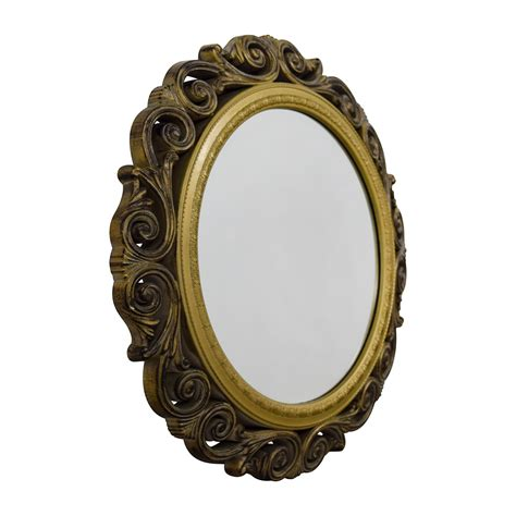 Measuring 24.2'' in diameter, it's just the right size spice up that blah spot in your entryway or hang in a bathroom. 80% OFF - Gold Scrolled Frame Round Wall Mirror / Decor