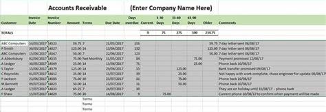 accounts receivable ledger template  template