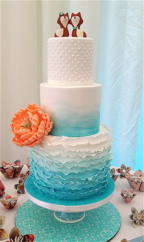 teal ombre wedding cake ideas bouquet