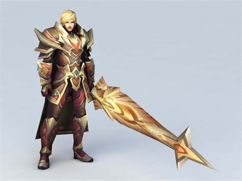 Anime Male Warrior with Sword 3d model 3ds Max files free ...