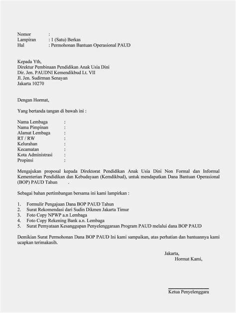 Surat Permohonan Sumbangan Y Menyentuh by Contoh Surat Permohonan Bantuan Operasional Bop Paud