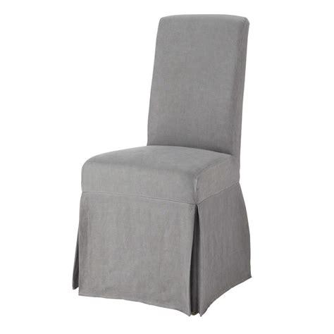 housse de chaise grise housse longue de chaise en lavé grise margaux maisons du monde