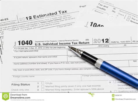 usa tax form 1040 for year 2012 editorial photo image