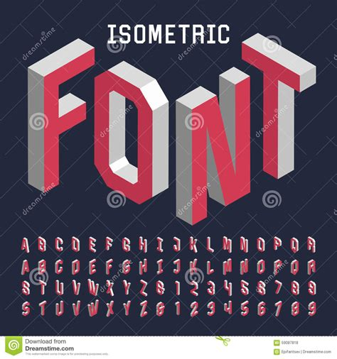 3d Isometric Alphabet Vector Font Stock Vector Image