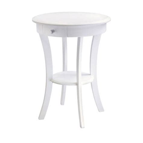 White Round Accent Table Bellacor