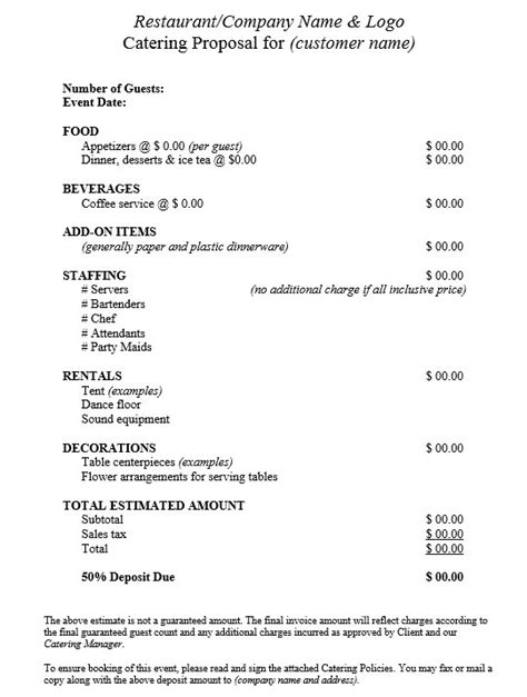 contract quotation template 9 free sle catering quotation templates printable sles