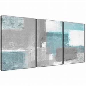 3 Panel Teal Grey Painting Living Room Canvas Wall Art