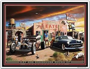 "Hot Rod Art Print ""RAT ROD ROADHOUSE"" by Larry Grossman eBay"
