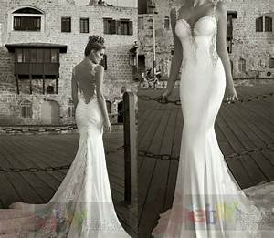 spaghetti straps sleeveless backless mermaid bridal With spaghetti strap backless wedding dress