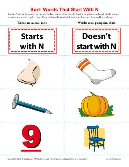 words that start with the letter n words starting with letter n beginning consonant worksheets 30125