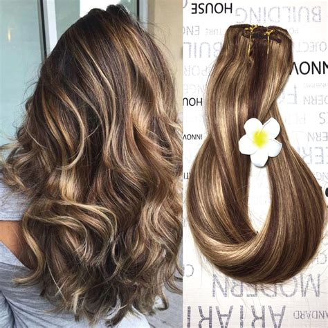 amazoncom human hair extensions clip  light brown