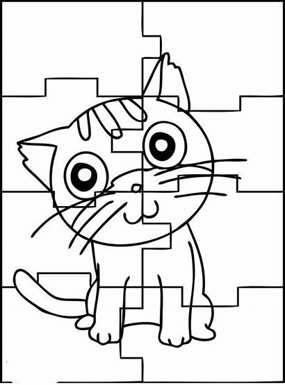 Puzzle Coloring Pages Puzzles Printable Jigsaw Cat