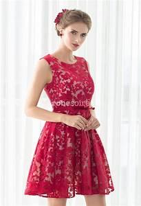 Robe Bal De Promo Courte : robe de soiree rouge dentelle ~ Nature-et-papiers.com Idées de Décoration