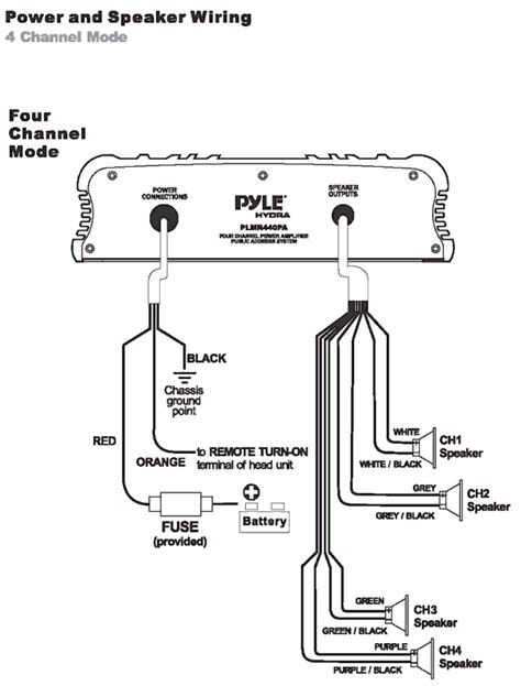 Pyle Marine Wiring Diagram by Pyle Plmr440pa 4 Channel Marine Power