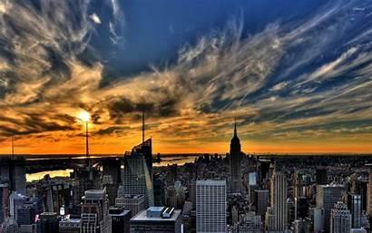 York Sunset Above Sky Amazing Wallpapers Usa