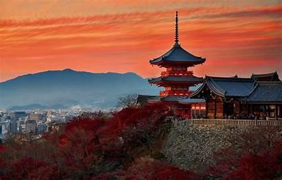 Kyoto Japanese Temple Sunset Japan Autumn Wallpapers