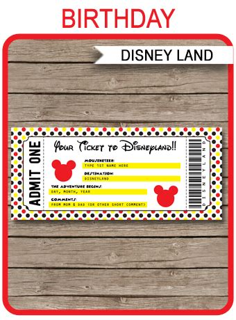 printable ticket  disneyland surprise trip