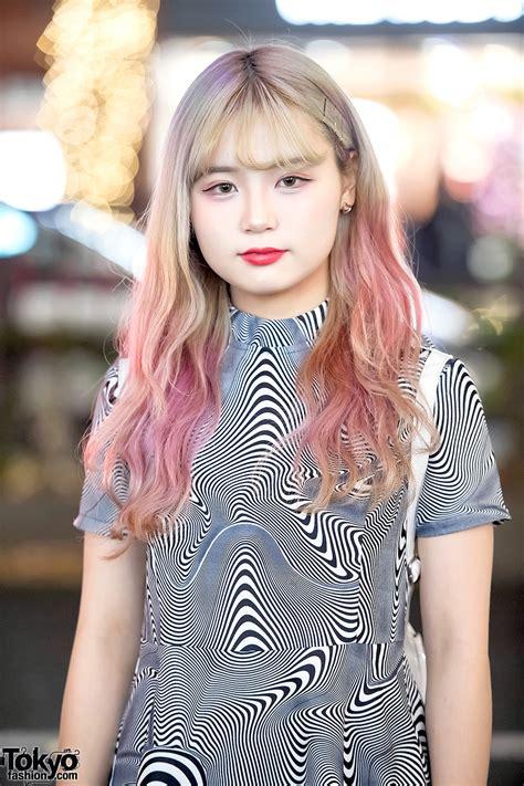 harajuku girl  unif optical illusion mini dress   pink unif rainbow backpack tokyo