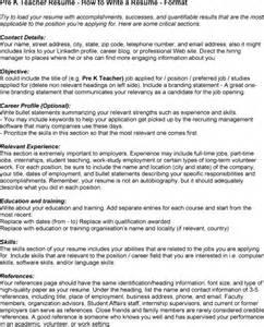 resume pre kindergarten exle resume pre k resume exle