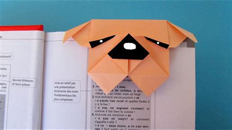 origami marque page chien bouledogue youtube