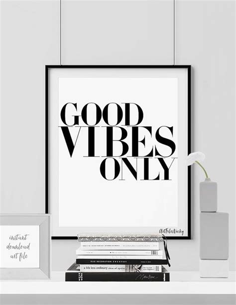 Minimalist Print, Wall Art Poster, Good vibes only, Quote
