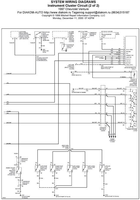 1995 Gmc Instrument Cluster Wiring Diagram by 1997 Chevrolet Venture Instrument Cluster Circuit System