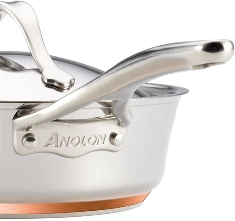 anolon cookware copper stainless steel nouvelle piece base ply induction dishwasher safe pan ajmadison