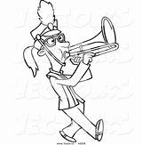 Marching Trombone Band Cartoon Coloring Playing Outline Vector Drawing Musical Instruments Printable Getdrawings Leishman Ron Powered Results sketch template