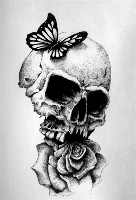 black and white skull and rose drawings - Google Search #drawings #art | Skull and rose drawing