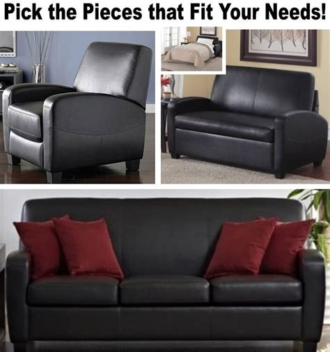 black leather home theater recliner chair sleeper loveseat