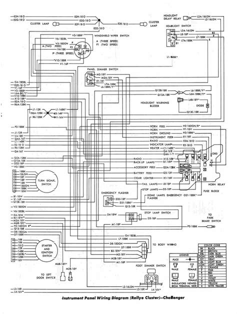 73 Challenger Wiring Diagram by Instrument Panel Wiring Diagram Of 1970 Dodge Challenger