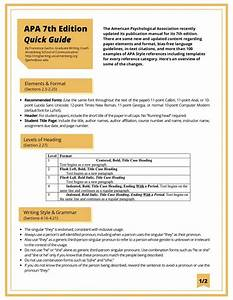 A Quick Guide To The Apa Publication Manual 7th Edition