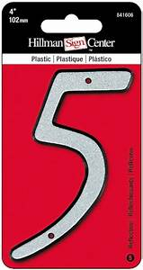 the hillman group 841606 4 inch nail on reflective plastic With plastic house numbers and letters