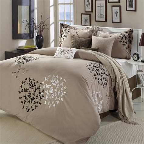 cheila beige silver brown 8 piece king comforter bed in