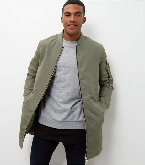 Olive Green Longline Bomber Jacket | New Look | outfit inspiration | Pinterest | Menu0026#39;s fashion ...