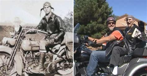 year  veteran rides  harley   time