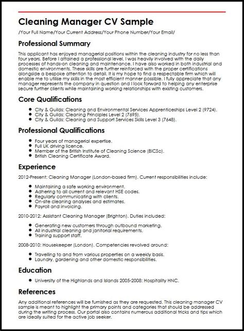 cleaning manager cv sle myperfectcv