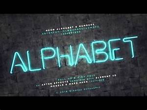 AFTER EFFECTS TEMPLATE Neon Alphabet & Numbers FREE