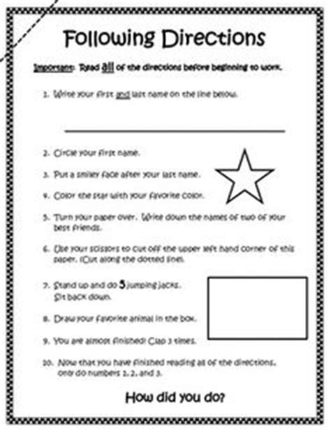 following directions worksheets for 1st grade 2